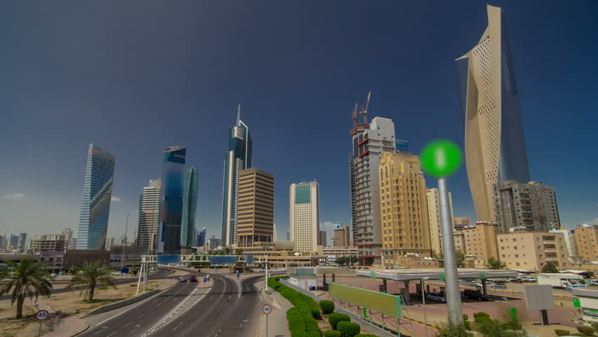 Skyline with Skyscrapers timelapse hyperlapse in Kuwait City downtown. Kuwait City, Middle East