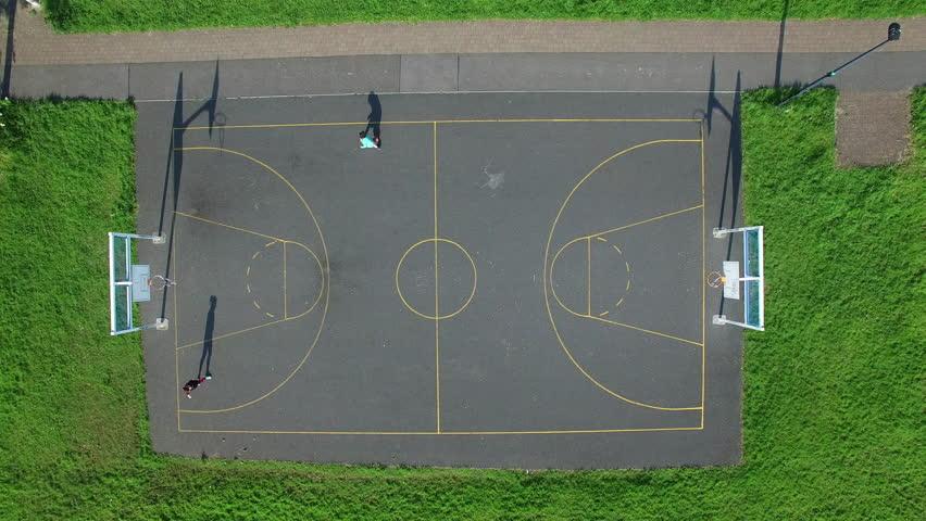 Basketball. Young Girl Is Training Basketball. Street ...