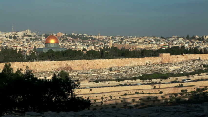 Extreme wide image of the Old City of Jerusalem, Israel, showing the east wall