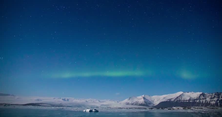 Northern light (Aurora borealis) above a glacial lagoon | Shutterstock HD Video #17065894