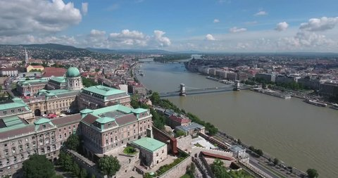 Aerial footage from a drone shows the historical Buda Castle near the Danube on Castle Hill in Budapest, Hungary.