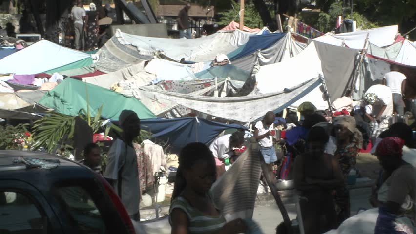 PORT-AU PRINCE, HAITI - CIRCA 2010: refugee camp circa 2010 in Haiti.