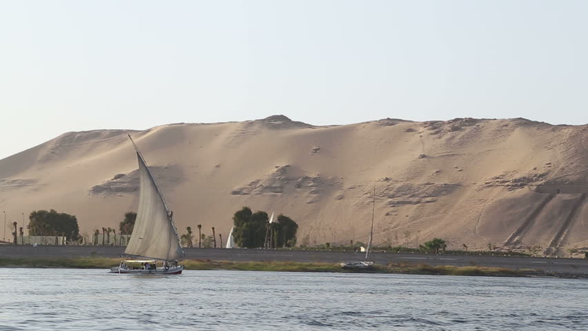 View of traditional felucca boats sailing on the Nile river in Egypt