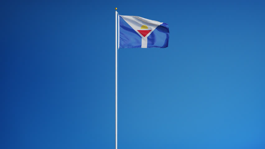 Saint Martin flag waving in slow motion against clean blue sky, seamlessly looped, long shot, isolated on alpha channel with black and white luminance matte, perfect for film, news digital composition | Shutterstock HD Video #17090584