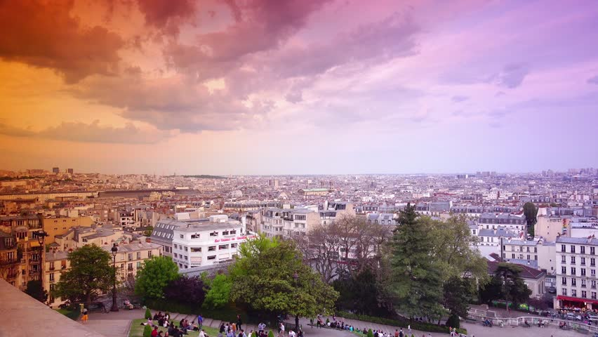 PARIS, FRANCE ,circa May 2016 : Panoramic view of tourists enjoying in the garden of the Place Saint Pierre, near the Basilica Sacre Coeur in Montmartre, Paris, ULTRA HD 4k, real time | Shutterstock HD Video #17091604