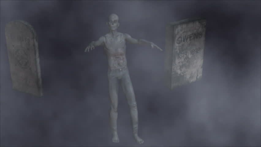 Scary Scene With Zombie Tombstones And Fog Machinima Style