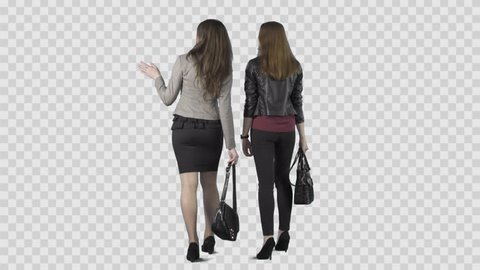 Two beautiful girls are walking away from the camera and watching something. Footage with alpha channel. Lens 85 mm. Camera is static. File format - .mov, codec PNG+Alpha