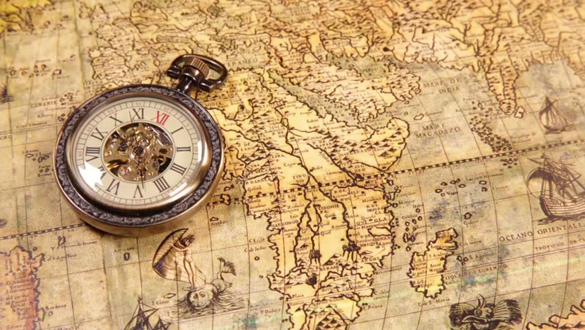 Vintage antique pocket watch on ancient world map in 1565 stock vintage clocks on the map old world map in 1565 hd stock footage gumiabroncs Image collections