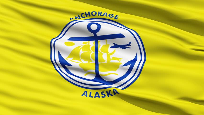 Anchorage Alaska Waving American State Capital City Flag Animation
