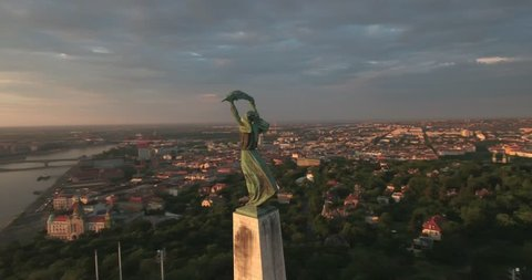 Aerial footage from a drone shows the Citadella fortification overlooking Budapest.