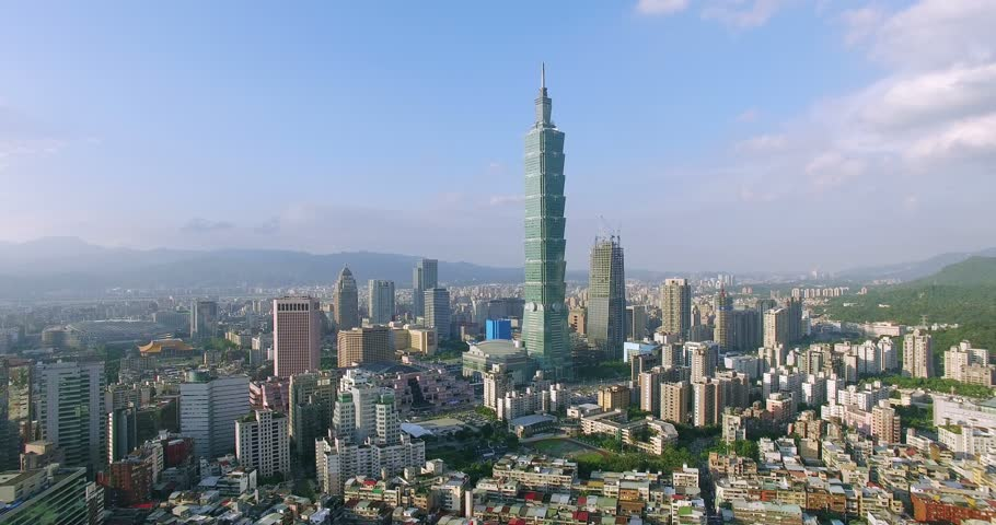 Aerial shot of City of Taipei, Taiwan