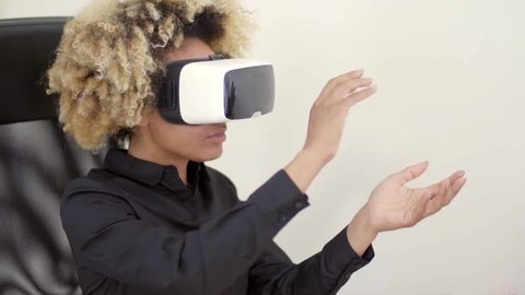 Woman Using 3D Virtual Reality Headset