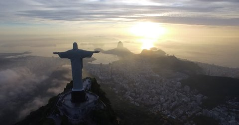 Aerial view of Christ the Redeemer in Rio De Janeiro Brazil (February 01, 2016 - Rio De Janeiro, Brazil)