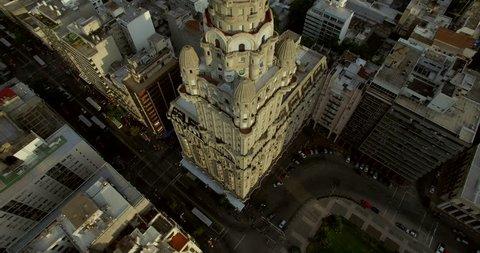 Aerial fly by Palacio Salvo building in Montevideo Uruguay (March 01, 2016 - Montevideo, Uruguay)