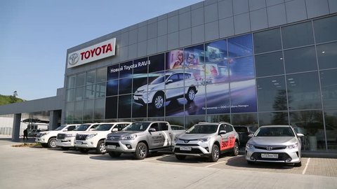 VLADIVOSTOK, RUSSIA - CIRCA MAY, 2016: Toyota Center Vladivostok - dealer of Toyota. Toyota Motor Corporation - the largest Japanese automotive corporation, is a key member of the Toyota Group.