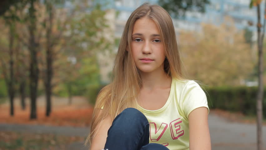 Portrait Of Beautiful Sad Teenage Stock Footage Video 100 -1174