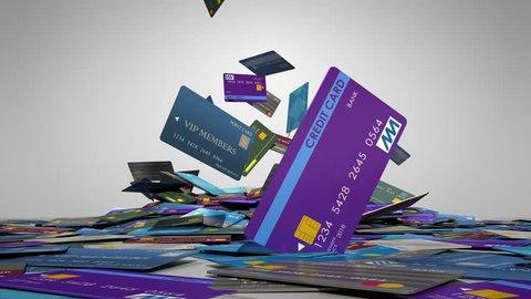 Stack of credit card, falling credit card.