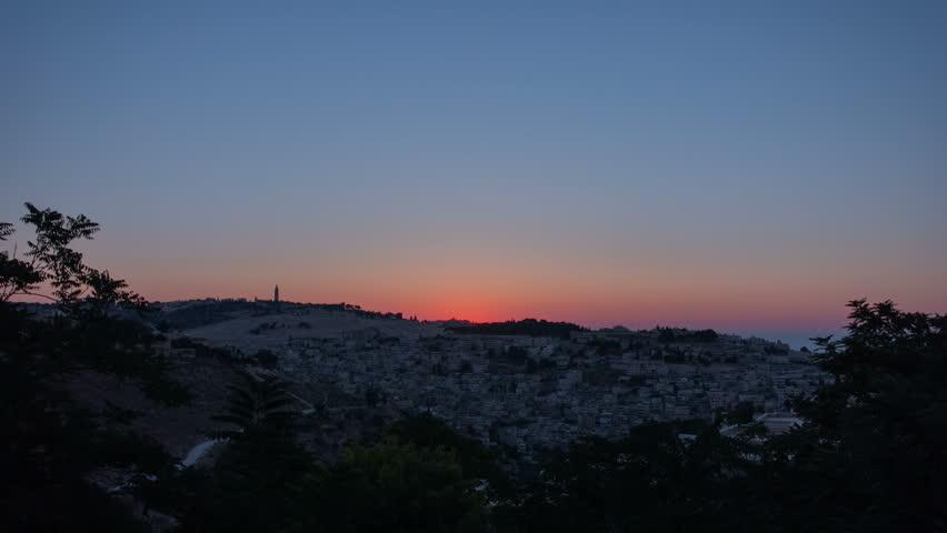 Old City of Jerusalem timelapse. Muslim Quarter, West Bank. Top view