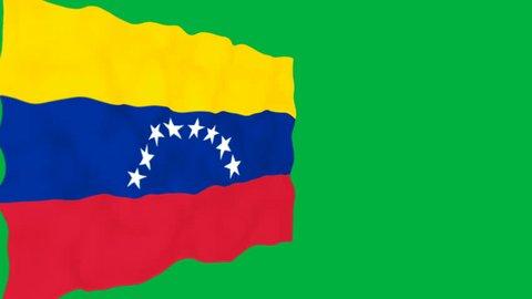 Flag of Venezuela. Official Venezuela flag. Isolated waving Venezuela national flag on green background.