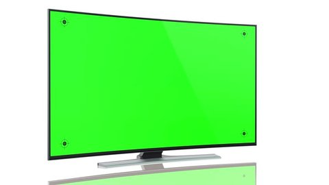 UltraHD Smart Tv with curved green screen on white background animation with luma matte.