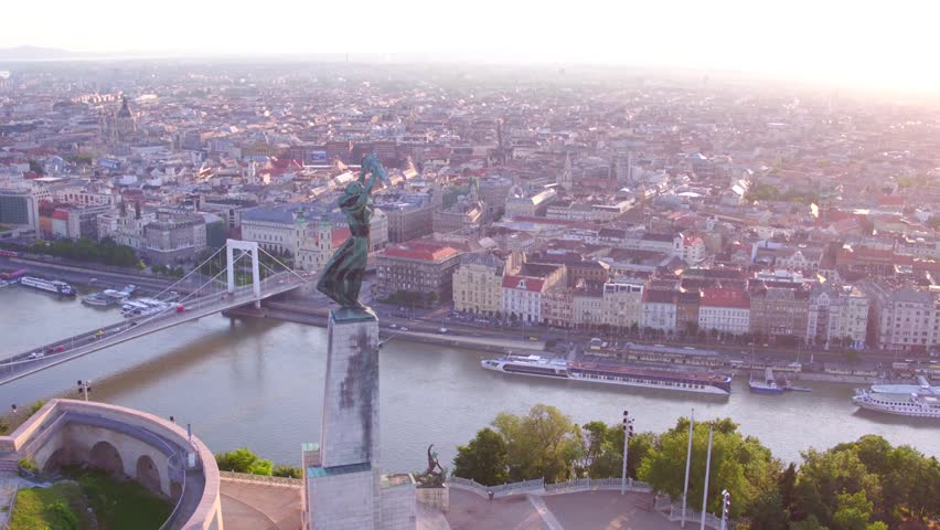 Aerial video shows the Citadella in Budapest, Hungary - Full HD drone footage