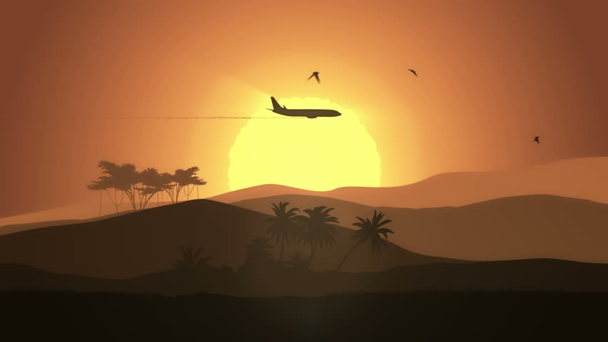 Animation moving of landscape in cartoon style with airplane and birds. Three versions on my portfolio: day, sunset and night. Animation of seamless loop.