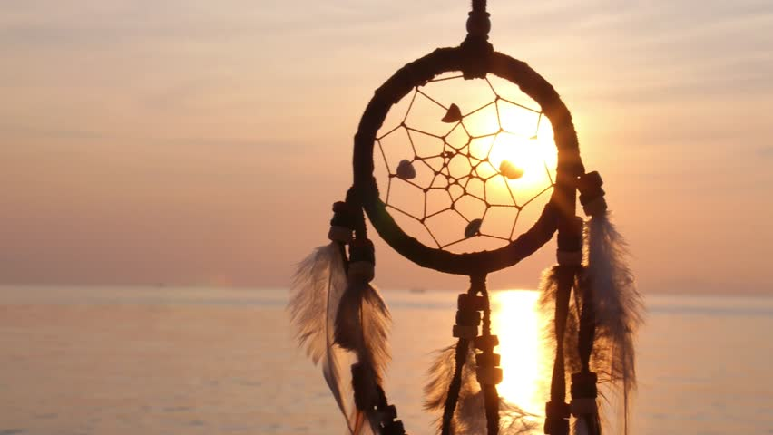 Focusing dream catcher stock footage video 7123645 shutterstock dream catcher at sunset by the sea hd stock video clip voltagebd Images