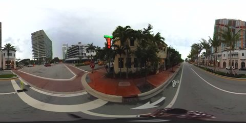 MIAMI BEACH - JUNE 11: 360 spherical VR video of Miami Beach, a year round tourist destination, which can be viewed in VR goggles or in a 360 video player June 11, 2016 in Miami Beach FL, USA