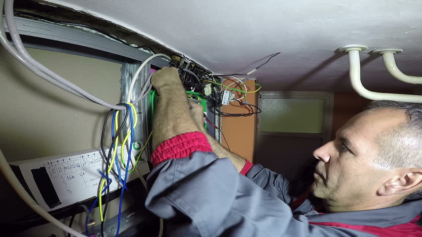 Electrician Turning On New Trip Stock Footage Video (100% Royalty-free) on