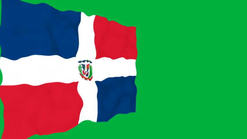 Flag of Dominican Republic. Official Dominican Republic flag. Isolated waving Dominican Republic national flag on green background.