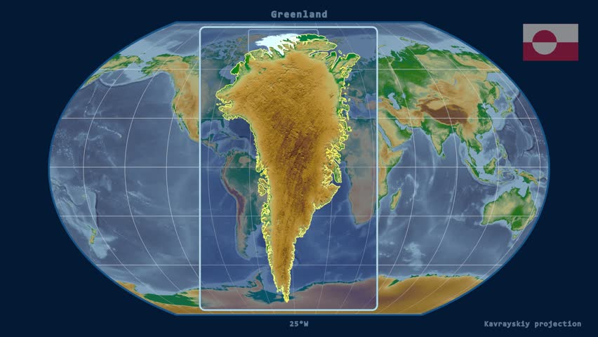 Greenland Shape Animated On The Physical Map Of The Globe Stock