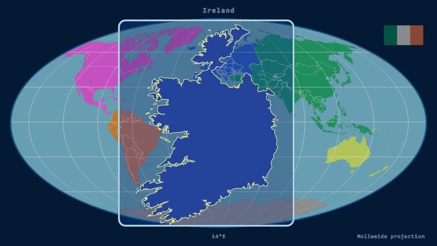 zoomed in view of a ireland outline with perspective lines against a global map of