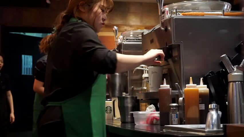 Feb62016 Tianjinchina Barista Making Coffee In Stock Footage