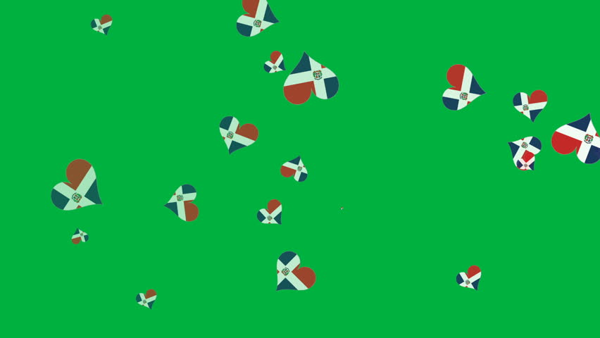 Isolated moving Dominican heart flag particles on green background. Flags of Dominican. Dominican national flags.