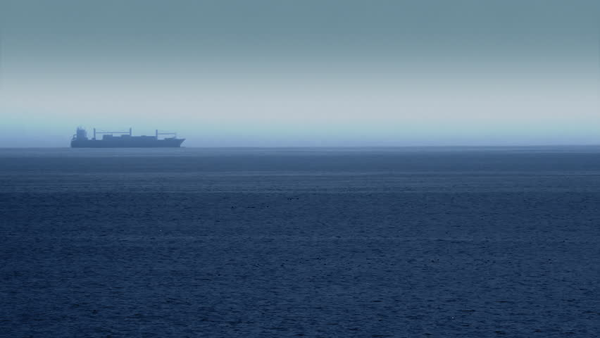Large Cargo Shipping Boat Crossing the Ocean