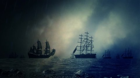 Naval Sea Battle Between Two Fleet Under a Lightning Storm and Rain