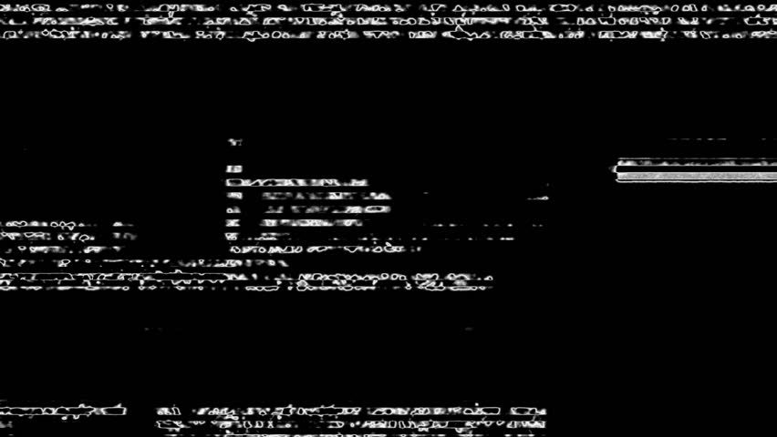 White Noise On Black Glitch Video Damage Background