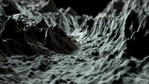 A fractal landscape is moving and evolving endlessly. A strong depth of field effect. Gray scale, easy to change the color.