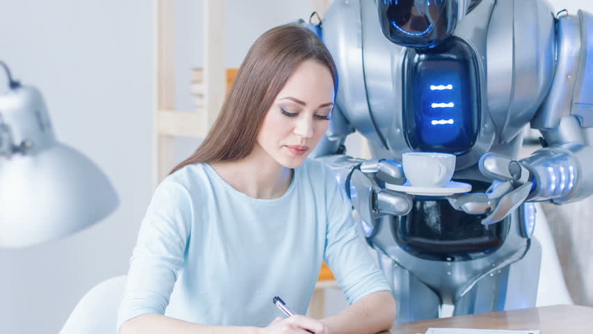 Robot giving cup of coffee to woman | Shutterstock HD Video #17433094