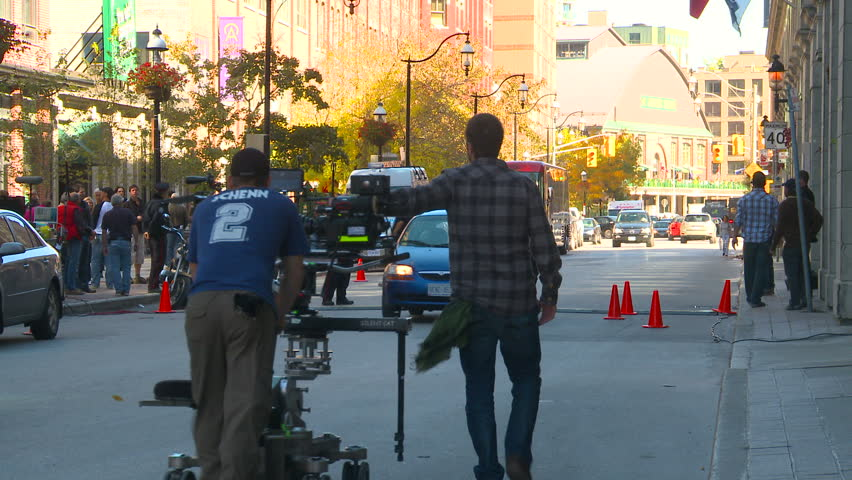 TORONTO, CANADA - OCTOBER 23, 2010: film set crew with Red cam on October 23, 2010 in Toronto, Canada