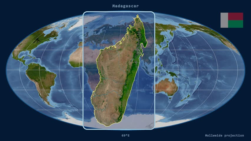 Geographic equirectangular world map projection example of land zoomed in view of a madagascar outline with perspective lines against a global satellite map gumiabroncs Images