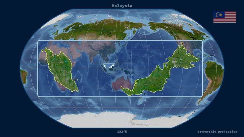 Zoomed-in view of a Malaysia outline with perspective lines against a global satellite map in the Kavrayskiy VII projection | Shutterstock HD Video #17462263