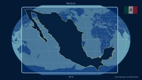 Zoomed-in view of a Mexico outline with perspective lines against a global admin map in the Kavrayskiy VII projection