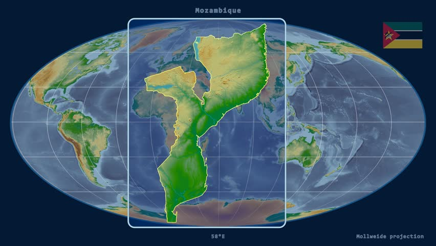 Zoomed in view of a mozambique outline with perspective lines zoomed in view of a mozambique outline with perspective lines against a global physical map sciox Choice Image