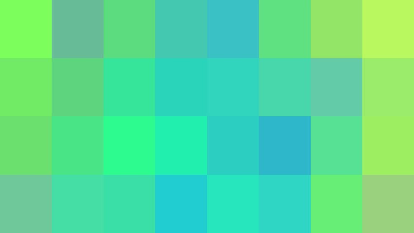 Bright pixelated digital screen texture with a multicolor random changing pattern for modern or retro animated backdrop. 4K high definition video.