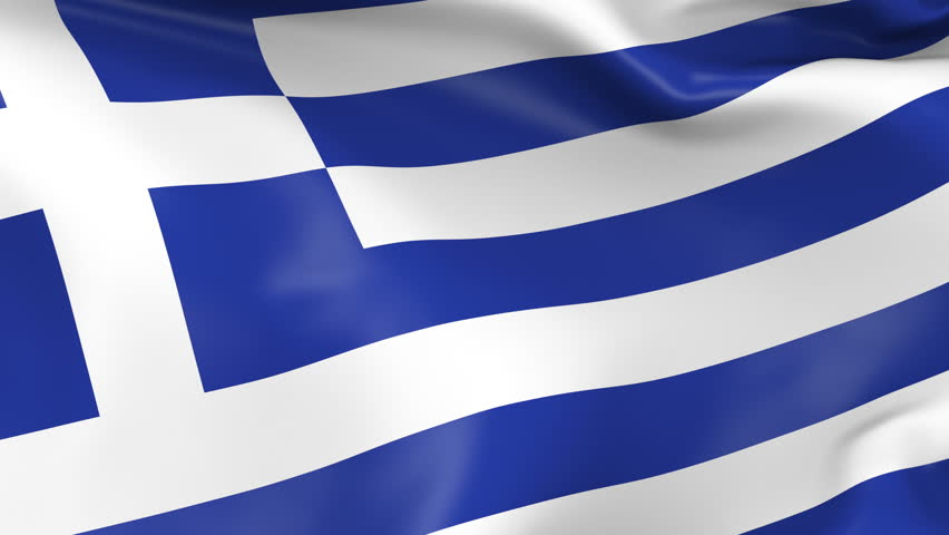 Photo realistic slow motion 4KHD flag of the Greece waving in the wind. Seamless loop animation with highly detailed fabric texture in 4K resolution.