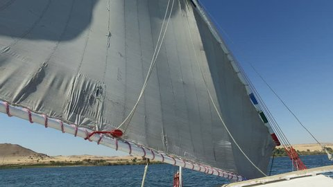 View of sail on felucca