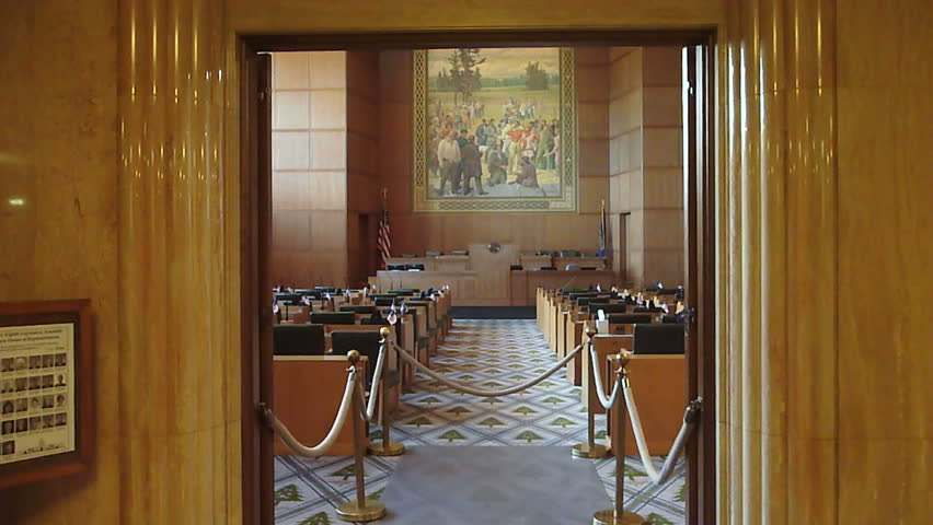 Camera tilt down on the entryway to The House Of Representatives located at the Capital Building in Salem, Oregon.