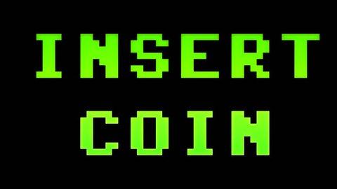 A 4k insert coin screen. 8-bit retro style.
