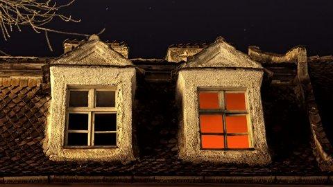 House window light turning off, good night